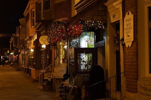 Storefront, Night Time, City, Baltimore, Business