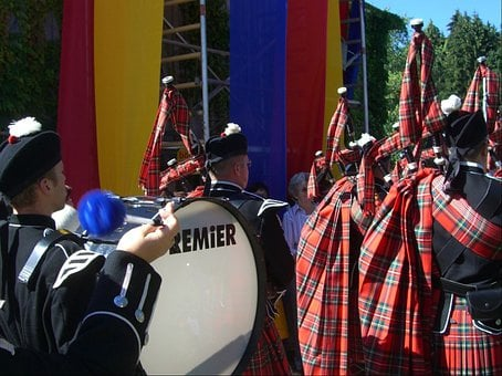 Kilt, Good Luck Bag, Bagpiper, Drummer, Colorful