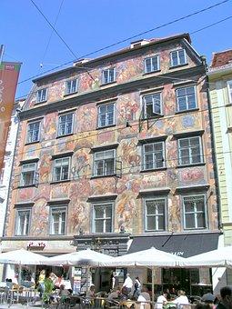 House, Graz, Painted, Famous, Austria, Architecture