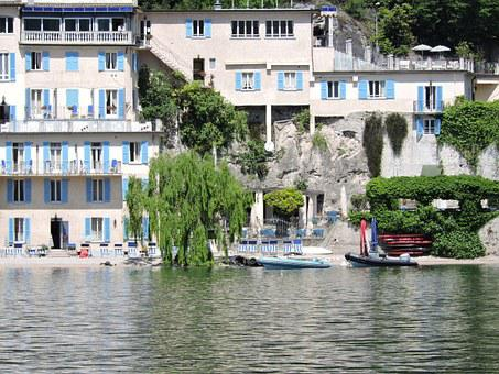 Lake, House, Buildings, Water, Tree, Willow