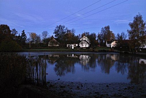 Harvesting, South Bohemia, Pond, Houses On The Lake