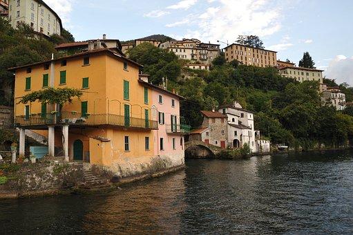 Italy, Mountain Lake, House On The Shore