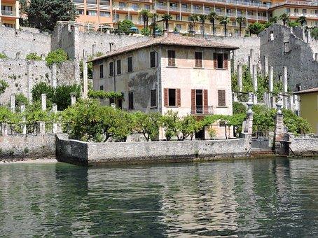 Lake, House, Trees, Lemon On Garda, Water