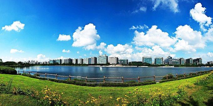 Park, Lake Park, Sky, City, Nature, Abstract, Scenery