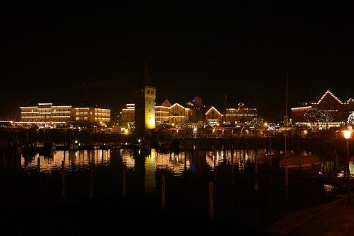Lindau, Promenade, Port, Lighting, Christmas Market