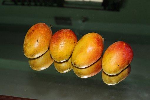 Mangoes, Ripe, Yellow, Orange, Fruits, Four, Edible