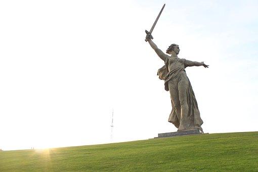 Monument, Mother Motherland, Grass, Sun