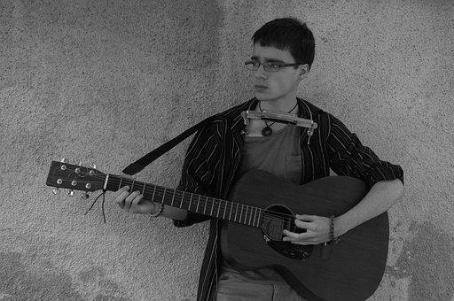 Musician, Boy, Young, Self-portrait, Guitar