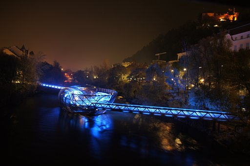 Graz, Mur, Murinsel, Night, Capital Of Culture, 2003