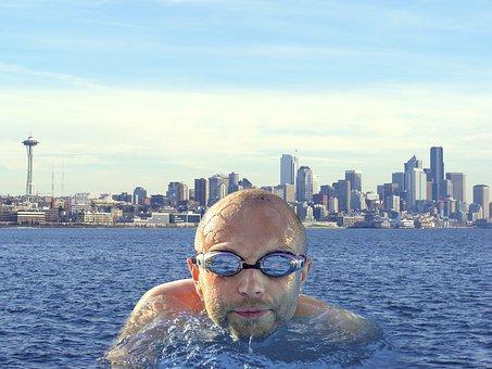 Float, Water, Swim, Seattle, City, Skyline, Cityscape
