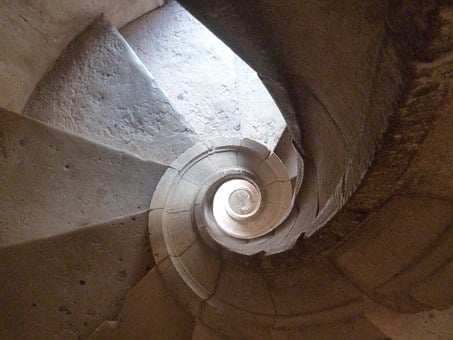 Spiral, Stairs, The Templars Castle, Portugal