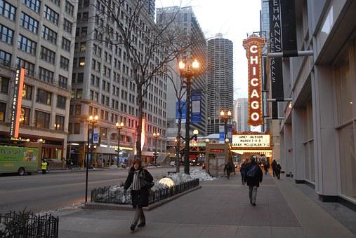 City, Street, Chicago, Illinois, Theater, Marquee