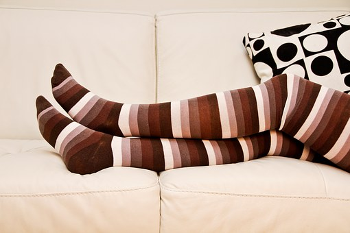 Stripped Socks, Long Socks, Crossed Legs