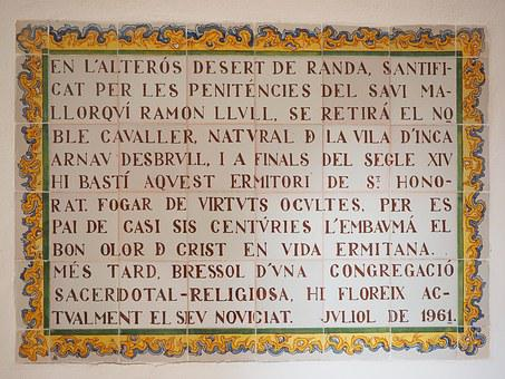 Tile, Board, Caption, Old, Font, Monastery