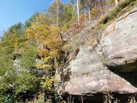 Sandstone Rocks, Sand Stone, Forest, Autumn, Emerge