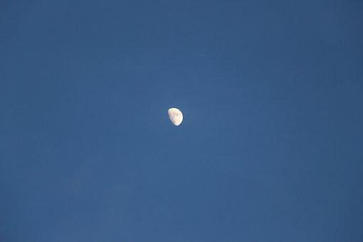 Moon, Half, Half Moon, Sky, Blue, Night, Atmosphere