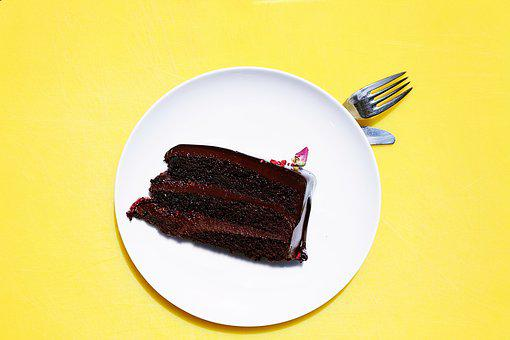 Cake, Chocolate, Dessert, Food, Fork, Pastry, Plate
