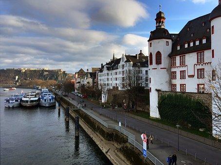 Koblenz, Altstadt, City, Mosel, Summer, Ships, Moselle