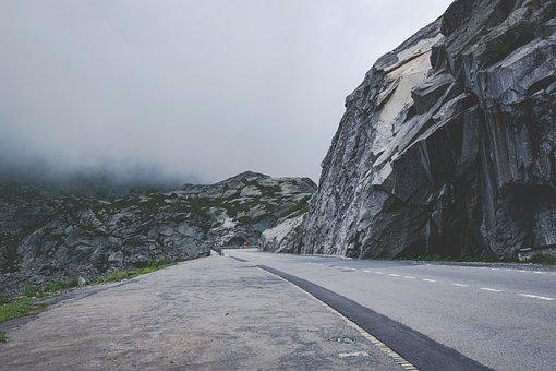 Mountains, Road, Fog, Gloomy, Landscape, Clouds, Pass