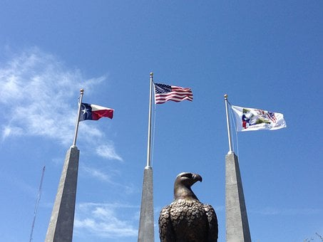 Eagle, Flags, Texas, War Memorial, Us, Flag, American