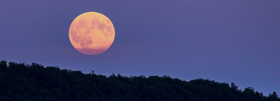Full Moon, Super Moon, Moonrise, Night, Evening, Mood