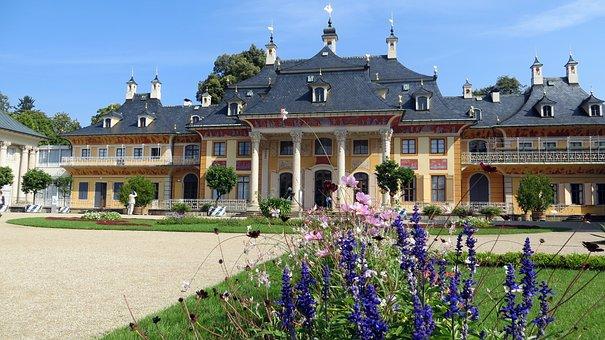 Pillnitz, Dresden, Castle Park, Flowers, Facade