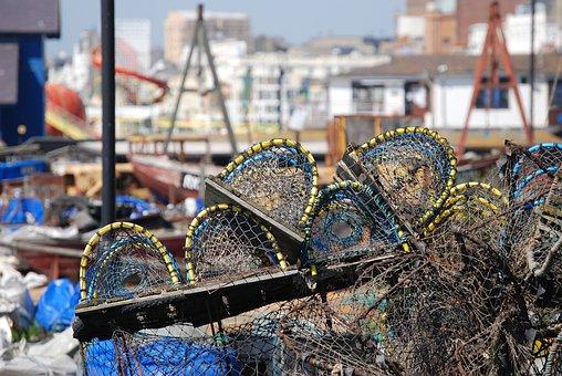 Lobster Pots, Beach, Seafood, Lobster, Sea, Fishing
