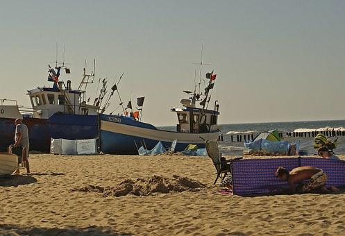 Beach, Fishing Boats, Boats On The Sand, Sea