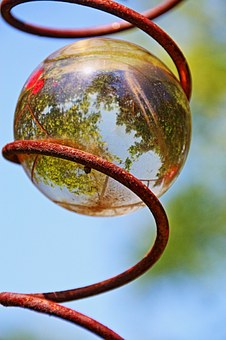 Glass Ball, Mirroring, Topsy-turvy World, Garden