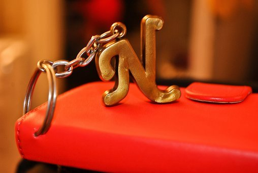 N, Character, Keyring, Capital Letter, Red, Glossy