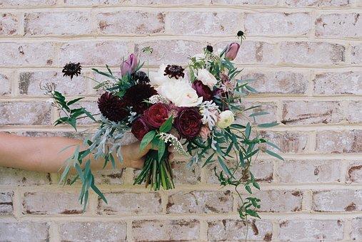 Flower, Bouquet, Hand, Holding, Brickwall, Floral