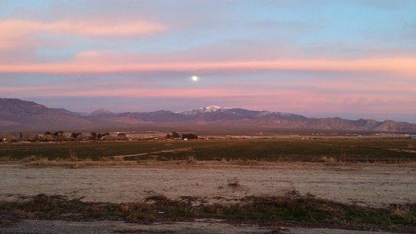 Moonrise, Sunset, Clouds, Desert, Farm, Landscape