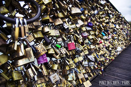 Pont Des Arts, France, Paris, Lover, Love, Heart