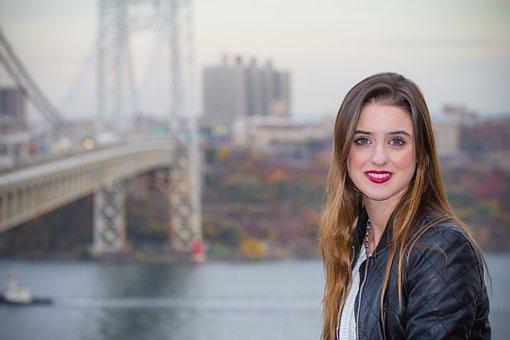 Tourism, New York, Woman, Happy Woman, Manhattan, Nyc