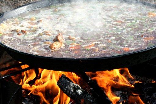 Paella, Valencia, Food, Lena, Fire, Preparation