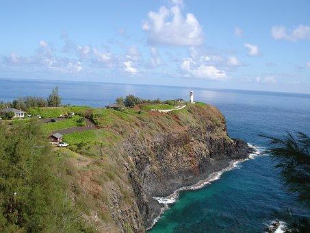 Penninsula, Cliff, Kilauea Point, Lighthouse, Ocean