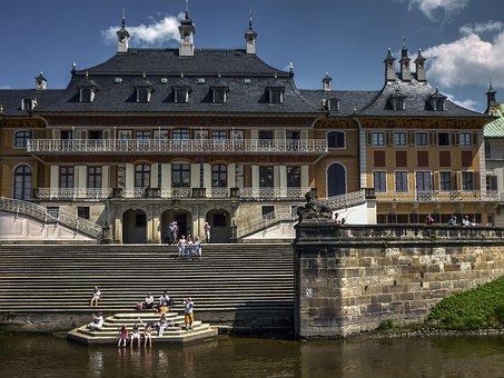 Castle, Pillnitz, Dresden, Summer, Terrace, Blue, Sky