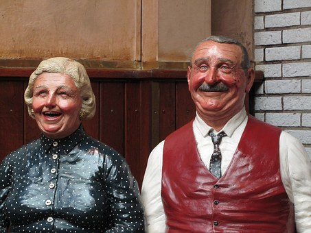 Statue, Senior, Couple, Smile, Europe, Germany
