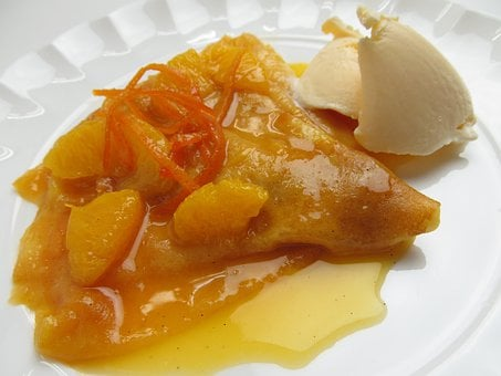 Crepe Suzette, Dessert, Cake, Fruit, Sweet, Suites