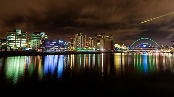 Gateshead, Tyne Wear, Reflections, Water, Town, England
