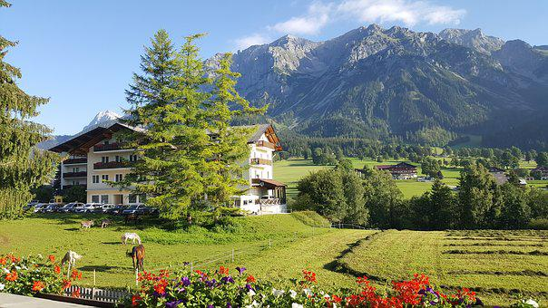 Dachstein, Mountains, Alps, Nature, House