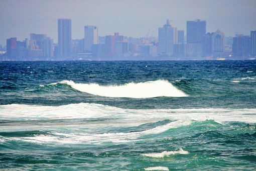 Sea, Ocean, Blue, Aqua, Waves, White, Surf, Skyline