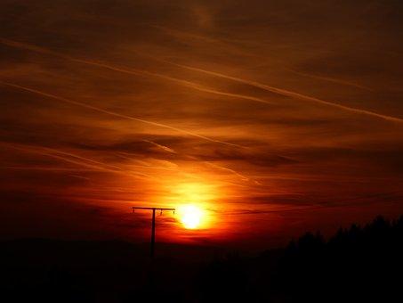 Sunset, Setting Sun, Evening, Luxembourg, Pintsch