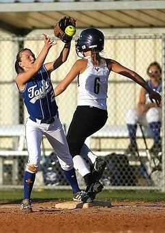 Softball, Game, Catch, Action, First Base, Runner