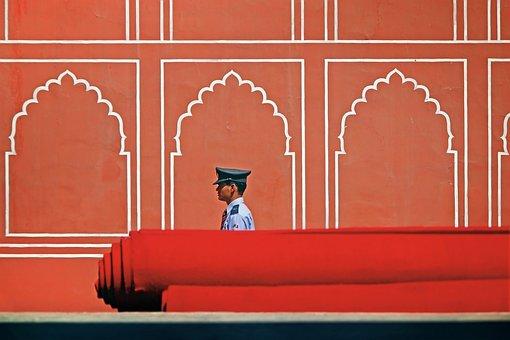 Red, Wall, Carpet, Man, Guard, India, Palace, Travel