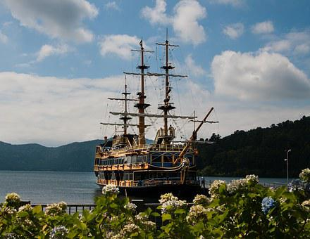 Pirate, Boat, Hakone, Mountain, Tourism, Japan