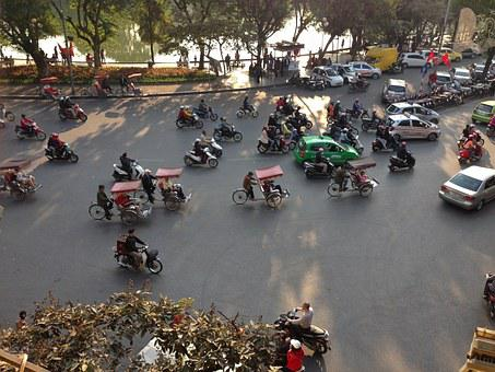 Hanoi, Vietnam, Street, Traffic, Bicycle, Trishaw
