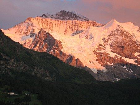 Mountains Alpengluehn, Include Virgin Alps, Switzerland
