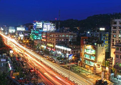 City, Guwahati, Assam, India, Night, Urban