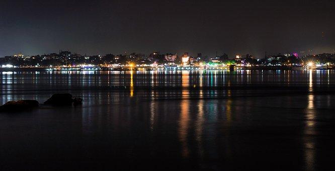 Guwahati, India, Assam, City, Landscape, Night